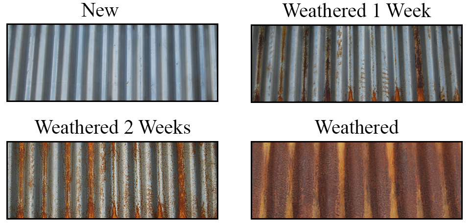 corten stages of weathering graphic